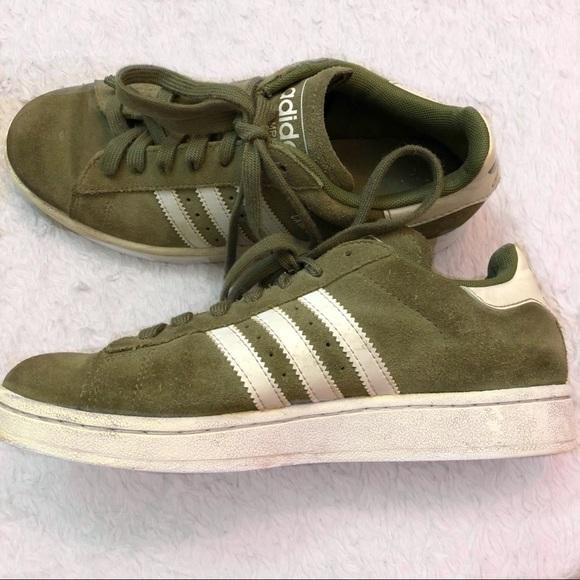 Green Suede Adidas Campus Shoes